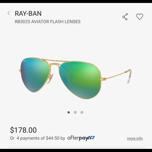 Ray Ban Large Flash Green Aviators Gold.
